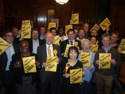 Linda Chung and supporters celebrate byelection gain in Hampstead Town