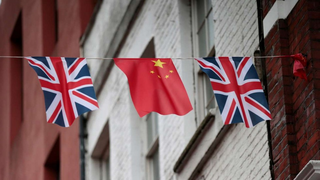 Chinese and UK flags