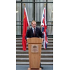 Jeremy Browne MP Minister of State at FCO with UK and China Flags.