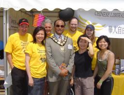 Mayor Faruque Ansari at Chinese Lib Dems stall June 09