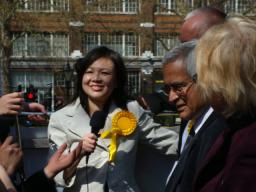 Merlene Emerson and Lord Dholakia on battle bus April 2010